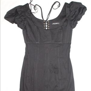Betsy Johnson little black dress puff shoulders